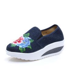 Jual Perempuan Sol Tebal Sepatu Wanita Sepatu Goyang Biru Tua Warna Di Bawah Harga