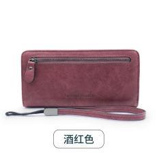 Perempuan Versi Jepang atau Korea Siswa Ritsleting Dompet Tas Tangan (Anggur Merah)