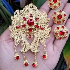 Perhiasan bali set bros alpaka aksesoris khas bali cincin anting bros