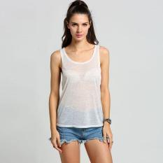 Beli Peringkat Membeli Atas Kaus Tanktop Tanpa Lengan Rompi Wanita Kotor Keringat Panas Musim Kapas Round Rompi Transparansi Leher Seksi Tee Putih Nyicil