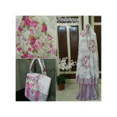 Perlengkapan Shalat / Stelan Mukena Katun Adem / Mukena Katun Bellarose Warna Pink Plus Tas Cantik