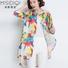 Perlindungan Matahari Pakaian Pencetakan Berongga Pantai Kemeja Model Perempuan Cardigan (Burung Di Bunga Warna)