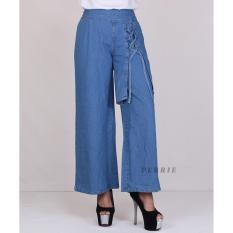PERRIE Celana Kulot Jeans Denim Panjang Wanita Celana Cullot Denim Kantor Casual Fashion