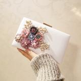 Diskon Persegi Kecil Korea Fashion Style Bunga Tas Tas Pesta Tas Tas Baru Tas Wanita Putih Oem