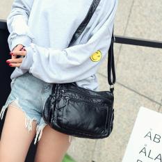 Persegi Kecil Tas Selempang Korea Fashion Style Kulit Lembut Tas Bahu Retro Tas Wanita (Hitam)
