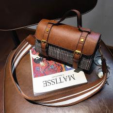 Harga Persegi Kecil Tas Kecil Kotak Kotak Tas Selempang Korea Fashion Style Baru Coklat Tiongkok