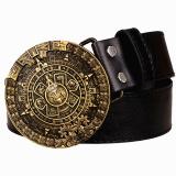 Kepribadian Aztec Gold Belt Metal Buckle Round Solar Kalender Pria Sabuk Kulit Punk Rock Pinggang Sabuk Wanita Jeans Belt Hip Hop Girdle Intl Oem Diskon 30