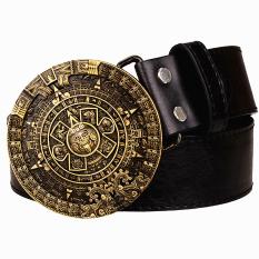 Harga Termurah Kepribadian Aztec Gold Belt Metal Buckle Round Solar Kalender Pria Sabuk Kulit Punk Rock Pinggang Sabuk Wanita Jeans Belt Hip Hop Girdle Intl