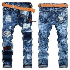 Jual Kepribadian Populer Gaya Busana Lubang Bahan Jeans Fashion Pria Lurus Beggar Pants Biru Oem Online