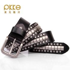 Personality Rivets Leather Belt Five-pointed Star Punk Leather Belt Rock Hip Hop Belt - intl
