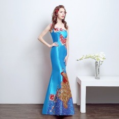 Diskon Pertemuan Tahunan Slim Gaun Gaun Pengantin Mermaid Gaun Malam Langit Biru Baju Wanita Dress Wanita Gaun Wanita Branded