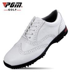 Promo Pgm Man Full Grain Kulit Sapi Spike Golf Sepatu Warna Putih Intl Tiongkok