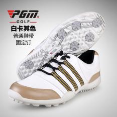 Diskon Pgm Memakai Bernapas Tahan Air Sepatu Olahraga Sepatu Golf Xz020 Putih Khaki