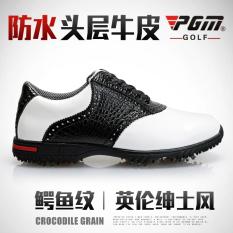 PGM Pria Buaya Kulit Pola Sepatu Sepatu Golf (Anggur Merah [To Send Sebuah Sepatu atau Tas, warna Acak])