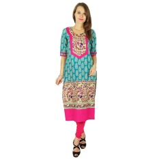 Review Phagun Perancang India Bollywood Kurta Wanita Etnis Kurti Cotton Gaun Tunik Multicolor Intl India