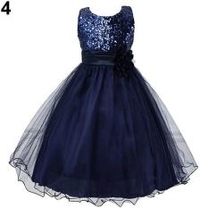 Phoenix B2C Girls Cantik Bunga Payet Princess Dress Layered Ruffle Bola Gaun Gaun 9-10 Tahun (DARK BIRU) -Intl