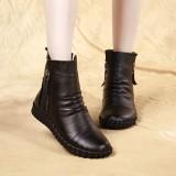 Beli Pijakan Empuk Rajut Kasual Datar Sepatu Wanita Kulit Boots Pendek Hitam Kapas Online Murah