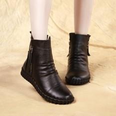 Toko Pijakan Empuk Rajut Kasual Datar Sepatu Wanita Kulit Boots Pendek Hitam Kapas Murah Tiongkok