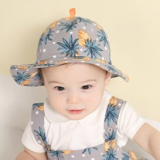 Pineapple Printing Topi Musim Panas Bayi Cotton Kids Sunshade Bucket Hat (biru)-Intl