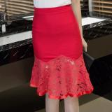 Review Pinggang Tinggi Daun Teratai Sisi Sambungan Renda Setengah Panjang Rok Gaun Malam Mermaid Merah Baju Wanita Rok Oem Di Tiongkok