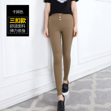 Spesifikasi Pinggang Tinggi Keelastikan Terlihat Langsing Kaki Kecil Celana Pensil Legging Tombol Jahit Versi Coklat Muda Warna Baju Wanita Celana Wanita Beserta Harganya