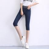 Jual Mm200 Wanita Tipis Pinggang Elastis Slim Celana Sedang Sepertujuh Jeans Biru Tua Di Tiongkok
