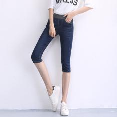 Beli Mm200 Wanita Tipis Pinggang Elastis Slim Celana Sedang Sepertujuh Jeans Biru Tua Cicil
