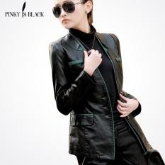 Pinky Adalah Black Spring dan Musim Gugur Wanita Jaket Kulit Wanita Slim blazer Perapi Mantel Kulit Kasual Wanita Jaket Motor- INTL