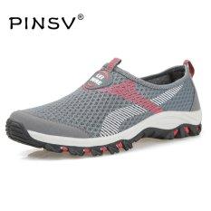 Situs Review Pinsv Air Mesh Musim Panas Sepatu Pria Loafers Slip Di Flat Sepatu Pria Sepatu Kasual Ukuran 39 47 Grey Intl