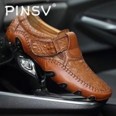 Penawaran Istimewa Pinsv Besar Ukuran 39 47 Pria Asli Sepatu Kulit Slip On Black Loafers Mens Moccasins Sepatu Intl Terbaru