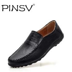 Pinsv Modis Bernapas dengan Kulit Asli Datar Pantofel Sepatu Pria Besar Ukuran 38-45-Internasional