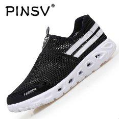 PINSV Fashion Pria Mesh Kasual Slip-Ons & Sepatu Sneakers-Hitam-Intl