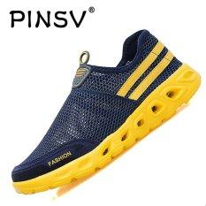 PINSV Fashion Pria Mesh Kasual Slip-Ons & Sepatu Sneakers-Biru-Intl