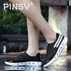 Harga Pinsv Fashion Wanita Mesh Kasual Slip Ons Sepatu Sneakers Hitam Di Tiongkok