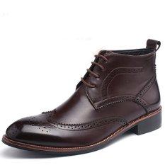 Beli Pinsv Genuien Kulit Pria Fashion Formal Boots Sepatu Bot Setumit Coklat Murah Di Tiongkok