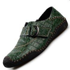 Pinsv Genuine Leather Men Handmade Sepatu Kasual Sepatu Kulit (hijau) (EU: 41)
