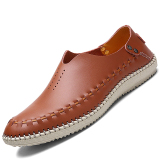Review Toko Pinsv Genuine Leather Pria Flats Sepatu Loafers Slip On Brown Intl