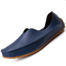 Pinsv Flat Kulit Sepatu Kasual Pria Bernapas Loafers Wearing Angkatan Laut Tiongkok