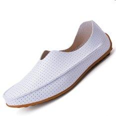 Beli Pinsv Flat Kulit Sepatu Kasual Pria Bernapas Loafers Wearing Putih Cicil
