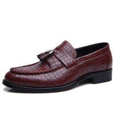 Review Pinsv Kulit Pria Formal Sepatu Rendah Memotong Sepatu Merah Intl Tiongkok