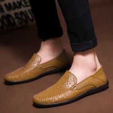 Iklan Pinsv Loafers Mens Sepatu Casual Split Sepatu Kulit Pria Flats Sepatu Ukuran 38 45 Dark Brown Intl