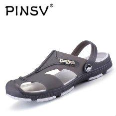 PINSV Pria Flats Sepatu Kasual Sandal (abu-abu)