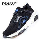 Beli Pinsv Pria Bernapas Sepatu Kasual Fashion Sneakers Besar Ukuran 37 47 Hitam Biru Intl Murah Tiongkok