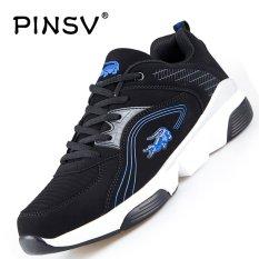 Review Pinsv Pria Bernapas Sepatu Kasual Fashion Sneakers Besar Ukuran 37 47 Hitam Biru Intl Tiongkok