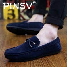 PINSV Pria Slip-ONS Pantofel Fashion Sapi Suede Kulit Sepatu Biru-Intl