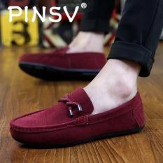 PINSV Pria Slip-ons Pantofel Fashion Sapi Suede Kulit Sepatu Merah