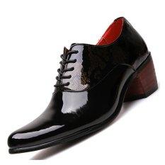 Pinsv Kulit Paten Pria Perhiasan Logam Campuran Sepatu Casual Oxford Roda Kaki Buatannya (Black) (EU: 43)