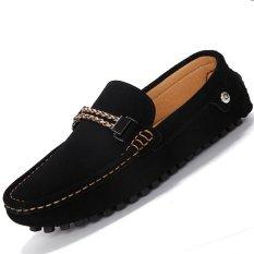 Spesifikasi Pinsv Flat Kulit Sepatu Loafers Pria Kasual Mengenakan Hitam Merk Pinsv