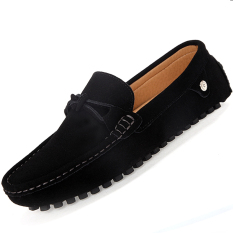 Beli Pinsv Flat Pria Sepatu Kulit Kasual Loafers Wearing Hitam Pinsv