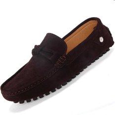 Harga Pinsv Flat Pria Sepatu Kulit Kasual Loafers Memakai Coklat Original